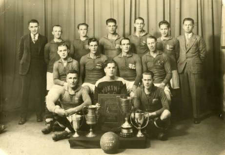 1929: The Vikings soccer team poses with trophies. Photo courtesy of the American Swedish Institute on Minnesota Reflections.