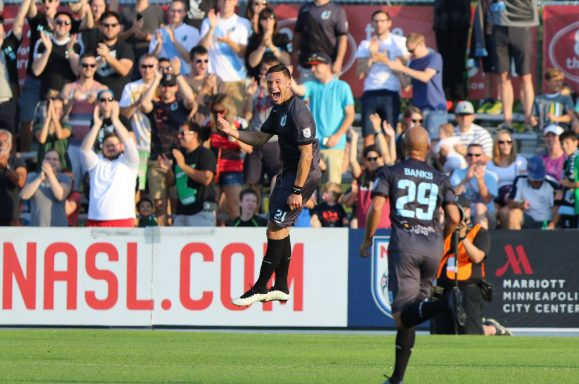 Christian Ramirez celebrates his hat trick against the Carolina Railhawks