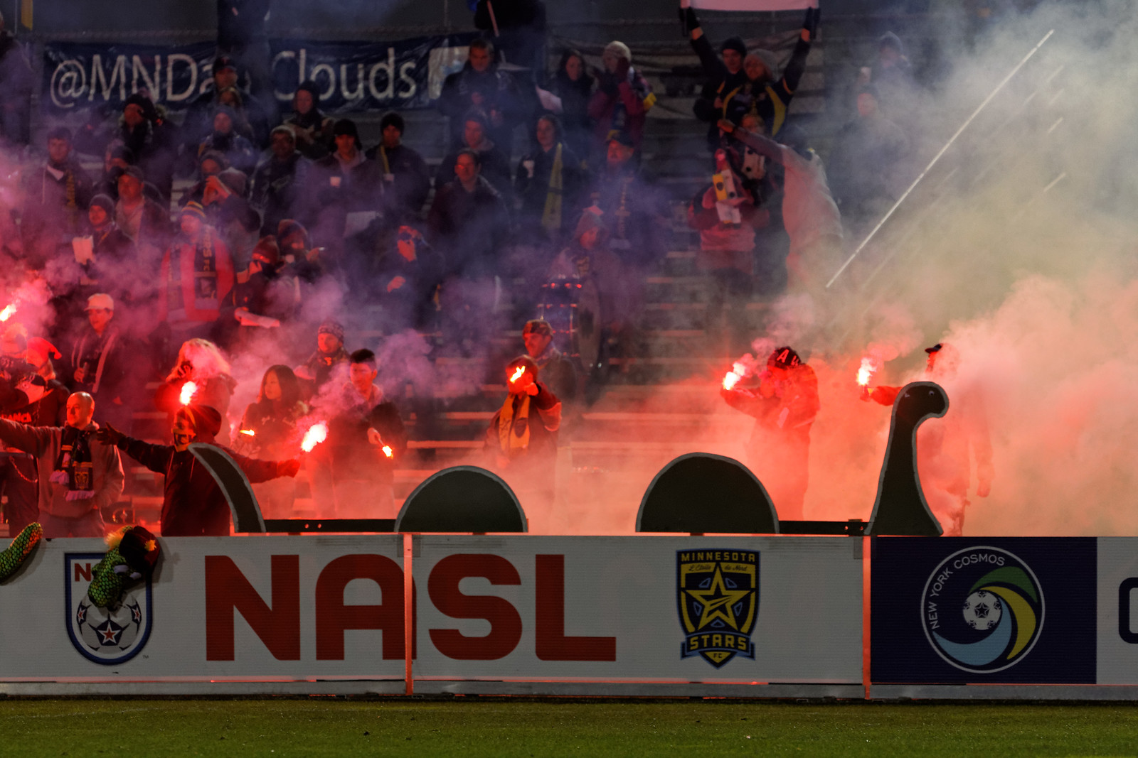 Dark Clouds with flares for tifo in 2011. Photo by Jeremy Olson.