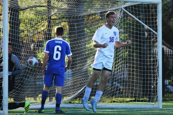 Kuplic scores his third goal of the weekend and his career against Luther College in the Tommies 2nd round NCAA Tournament game. Photo by Haley Staffon University of St. Thomas