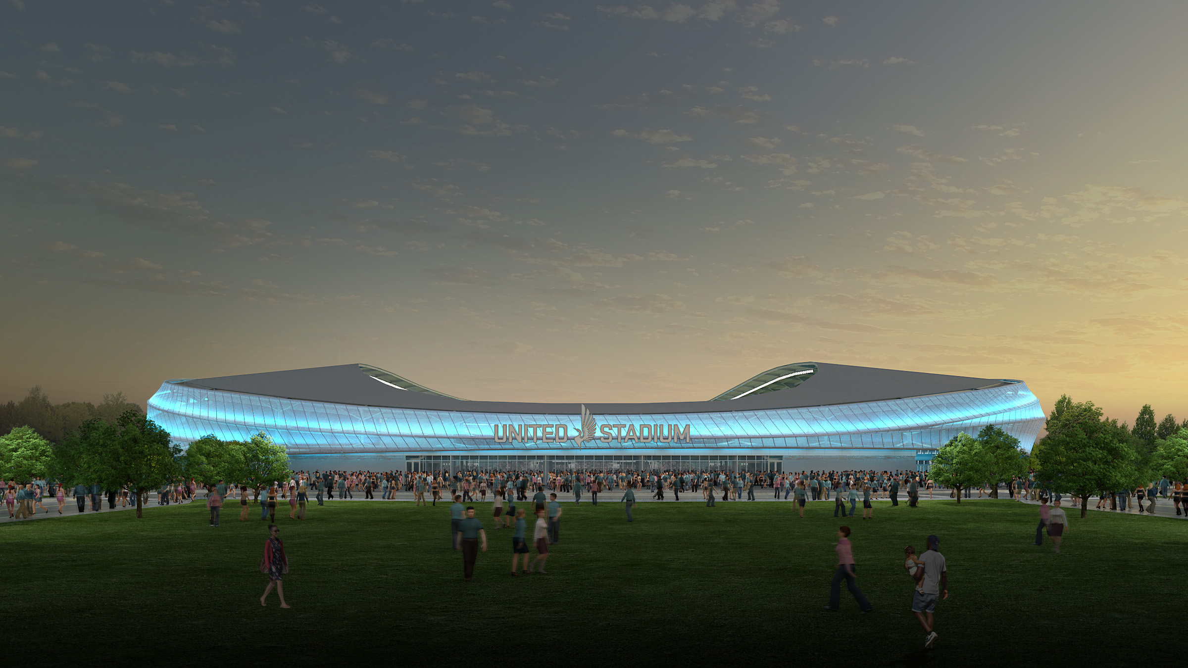 exterior-dusk new stadium image 12-16
