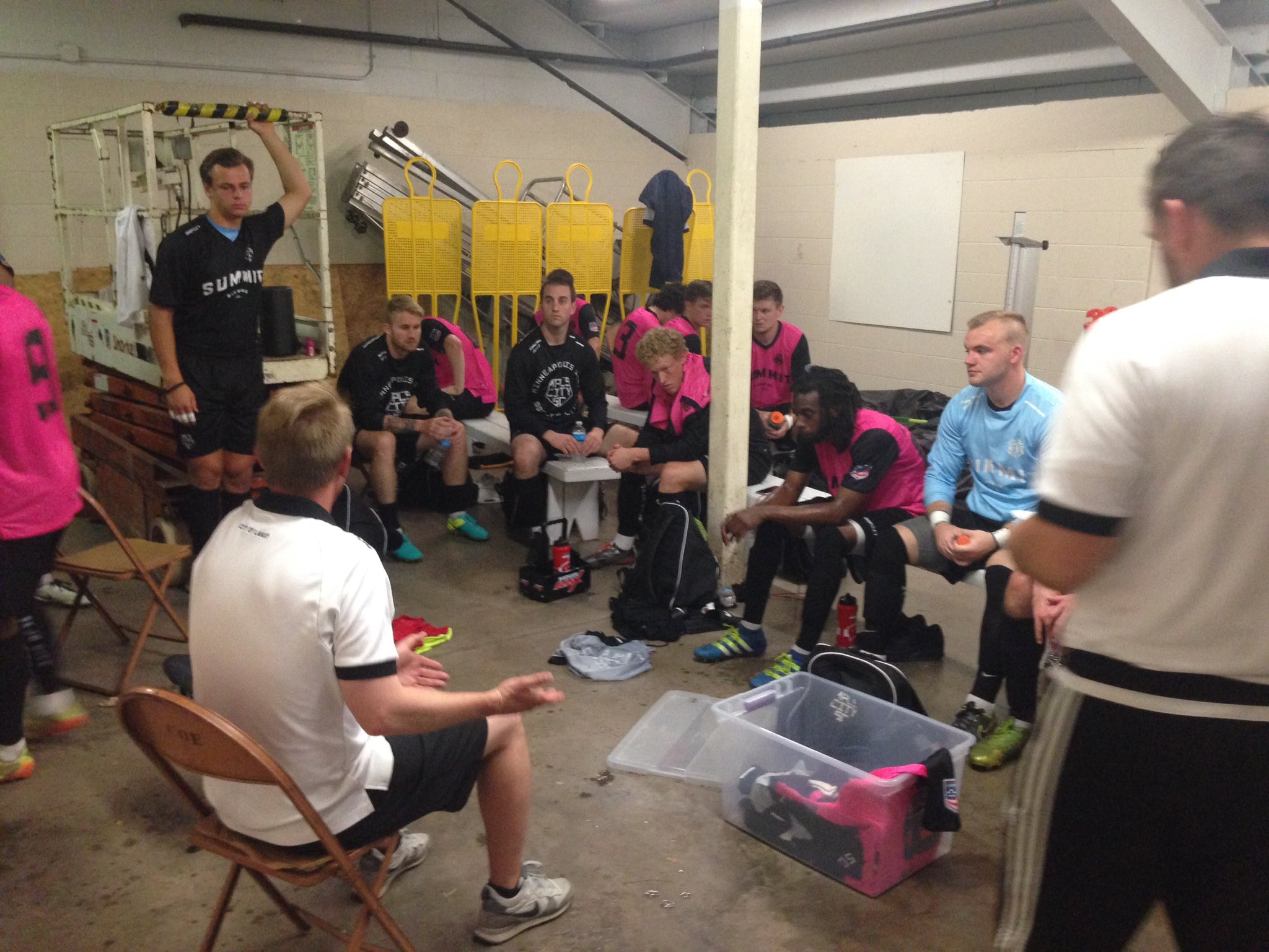 City co-head coach Keith Kiecker addresses his team at halftime. Image courtesy of Minneapolis City SC.
