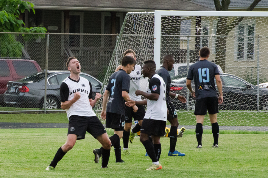 Andy Lorei celebrates his second goal. Image courtesy of Daniel Mick.