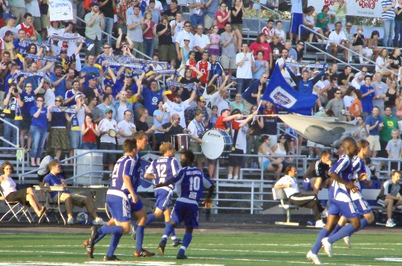 Dark Clouds support the Thunder at James Griffin Stadium for a 2005 US Open Cup game. Photo by Brian Quarstad.